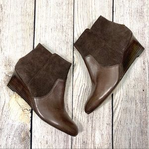Coach Brown Leather Suede Ankle Boot Wedge Booties